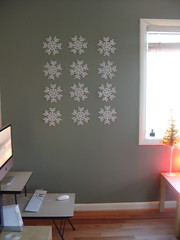 Foam Flakes (bunbunlife) Tags: snowflake christmas desktop winter white house holiday tree apple living mural imac desk room crafts nintendo foam dollar workstation simple decor wii