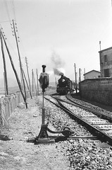 1957 (56) - come eravamo - Treno alla stazione di Balestrate - (molovate) Tags: stazione scambio biancoenero bw 1957 cometii tafme 50anni balestrate bn analogica scanner negativo locomotiva carbone 685094 volate tommasoevola roger32 treno vaporiera vapore people passeggero fumo molovate bianco nero