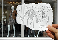 Pencil Vs Camera - 11 (Ben Heine) Tags: new france art love window shop sketch 3d couple poem friendship heart display amor models creative jalousie anger coeur clothes explore amour series conceptual lille 2d frontpage opticalillusion consumerism jealousy handinhand miseenabyme