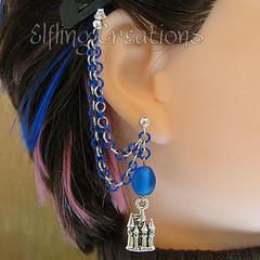 Blue and Silver Castle Double Cartilage Chain Earring
