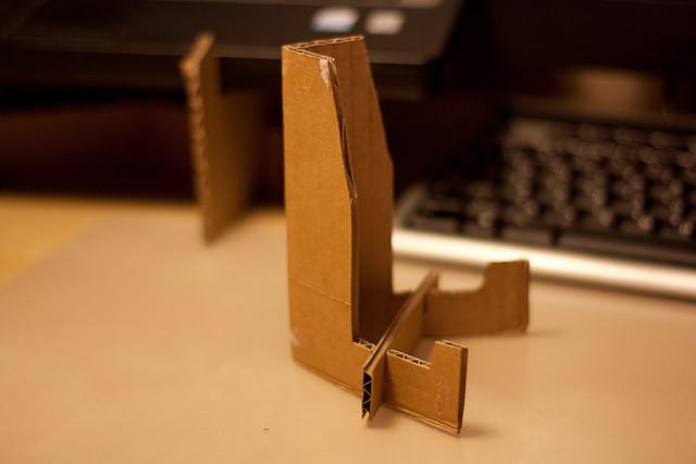 DIY cardboard iPad stand
