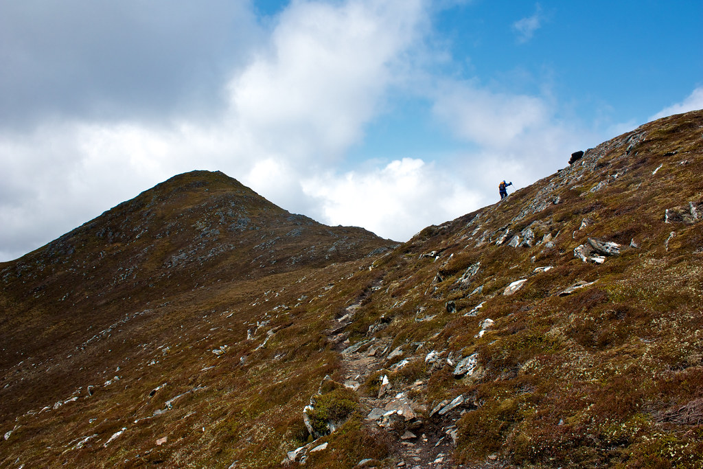 Climbing the ridge to Meallan nan Uan