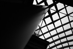 Kogod Courtyard BW (christaki) Tags: bw glass architecture washingtondc steel wideangle dcist canopy npg 1022mm nationalportraitgallery dcnw dcmuseum wpblog kogodcourtyard