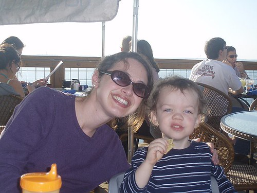 Mommy and Grant at The Oasis on Lake Travis