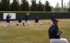 Yankees Line (boomcha7) Tags: college field campus virginia march baseball cloudy crowd 2008 yankees warmup arod posada newyorkyankees jeter jorgeposada blacksburg pinstripes virginiatech hokies derekjeter alexrodriguez 31808 englishfield