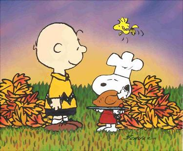 A Charlie Brown Thanksgiving.  Peanuts with Snoopy, Woodstock, Linus, Lucy, Sally, Peppermint Patty, Marcie, Franklin, by Charles M. Schulz -- a Christian.