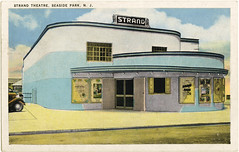 Strand Theatre, Seaside Park NJ, 1936 (Roloff) Tags: blue cinema film architecture strand 1936 vintage movie newjersey kino postcard nj scan historic colorized movies bridgeofsighs artdeco movietheater bioscoop cin seasideheights strandtheatre seasidepark streamlinemoderne tarjetapostal tichnor
