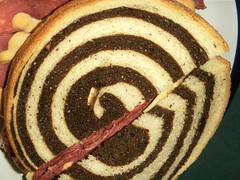Marble Rye Bread, Sandwich (cobalt123) Tags: food macro composition contrast bread spiral curves sandwich rye swirls cornedbeef marblerye thousandislanddressing michaelscheesesteaksnreubens