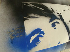 Stencil Graffiti (Emma Day) Tags: blue white black colour art graffiti stencil friend handmade ant anthony spraypaint