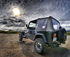 Jeep YJ HDR (DARREN ST0NE) Tags: sky sun canada wheel clouds four drive bravo rocks bc jeep columbia victoria british yj hdr darrenstone lightgazer