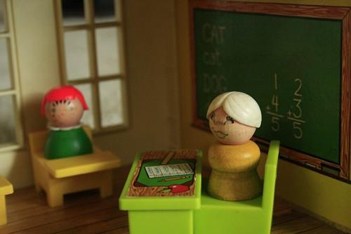 Teacher's desk.