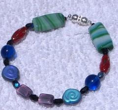 pressed glass bead bracelet