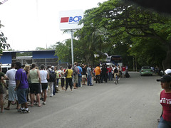 Border control between Costa Rica and Nicaragua.  Be prepared to wait at Penas Blancas
