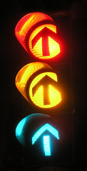 Three colored traffic light (redgeckoTO) Tags: longexposure light night trafficlight heilbronn lightatnight mediengestaltung hochschuledermedien