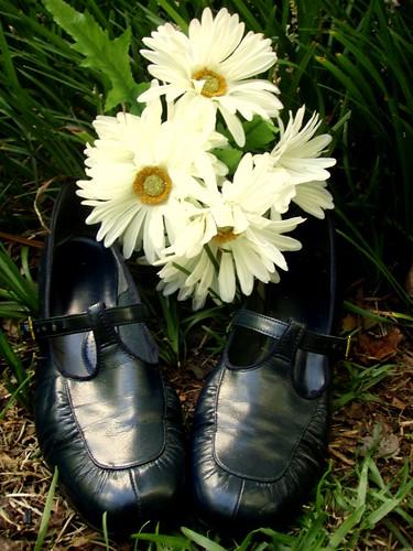 navy t-strap heels