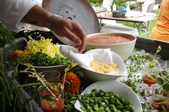 Chef Bushey's layout (my plate my world) Tags: peashoots gazpacho heirloomtomato cucamelon chefleobusheyiii