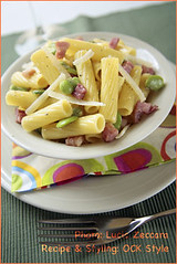 Tortiglioni Pasta with Fava beans, Bacon and P...