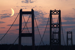 Tacoma Narrows Bridge (TroyMasonPhotography) Tags: sunset moon washington doubleexposure pugetsound tacoma 1on1 tacomanarrowsbridge jacksonave aug08 wsdot