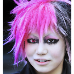 frantic beauty (ajpscs) Tags: street pink wild portrait eye face japan hair asian japanese tokyo interestingness nikon asia eyelashes explore freak harajuku  eccentric nippon  mascara frantic hysterical cosmetic  halfandhalf contactlens d300  frenetic ajpscs