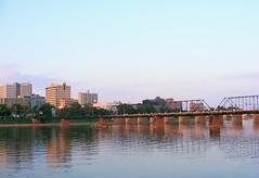Harrisburg Pennsylvania (Allie's.Dad) Tags: city bridge reflection water reflections river bridges walnutstreetbridge harrisburgpa topic susquehannariver waterreflections cityisland marketstreetbridge views75