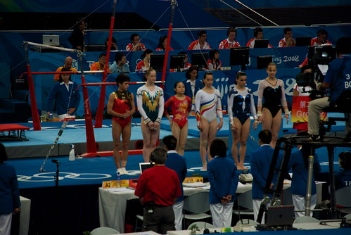 There she is, on the left. Two gymnasts away from some little kid who is missing recess.