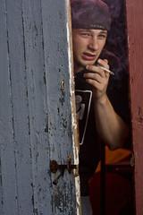 IMG_0491 (craig.proulx) Tags: door light portrait usa barn canon ma open cigarette smoke flash smoking mysterious opening 580ex strobe tyngsboro speedlite 430ex strobist 40d