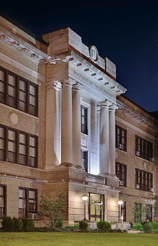 Central West End Neighborhood, in Saint Louis, Missouri, USA - Rosati-Kain High School at night