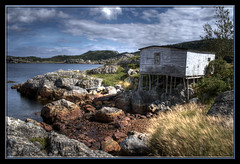 September (Frankverro) Tags: ocean sea seascape rock newfoundland landscape bay harbour stage explore coastline 1855mm salvage hdr fishingstage canonrebelxti photomatix3