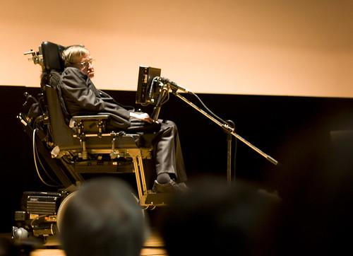 Hawking at the Palacio de Congresos in Santiago de Compostela
