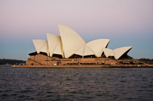 Opera House at dusk.