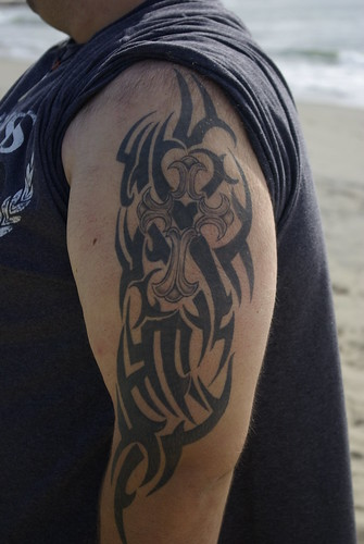 christian tattoo half sleeve