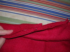 red wool jacket