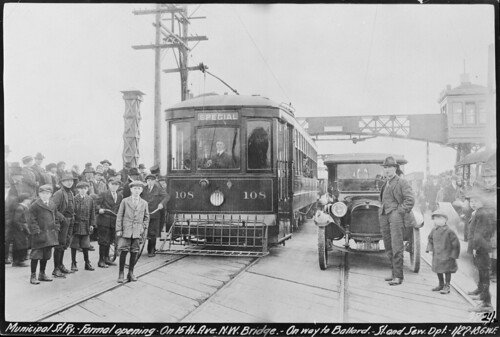 Municipal Street Railway Opening, Ballard Bridge, 1918, c/o Seattle Municipal Archives