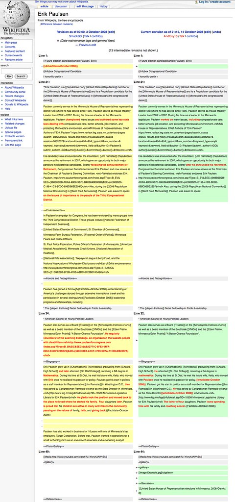 Edits to Erik Paulsen's Wikipedia Page