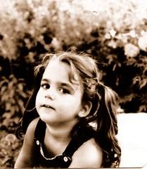 Pigtails- sepia (inrainbows84) Tags: girls baby girl childhood sepia kid tara disneyworld 80s scanned 1981 pigtails wdw oldfamilyphotos vintagedisneyworld