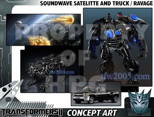 Soundwave prototipo con Ravage Transformers 2