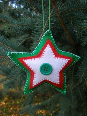 Green Christmas Star Ornament or Gift Embellishment (Pictures by Ann) Tags: christmas winter red white color green home wool colors three natural bright handmade embroidery sewing decoration vivid sew felt ornament gift embellishment tricolor present stocking decor embroidered homedecor sewn threecolor madebyhand gifttag allnatural madeintheus stuffer madeintheusa handembroidered womanmade madebyawoman harvestmoonbyhand embroideredbyhand