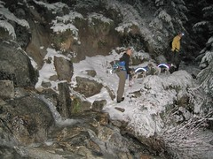 Icy waterfall crossing