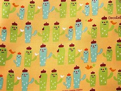 Cute Japanese Cotton Fabric-Decole-Decolello-Smiling Cactus (F104) (kawaii_fabric_and_paper) Tags: cactus bird apple yellow japan japanese quilt sewing fabric cotton needle commercial kawaii supplies decole decolello