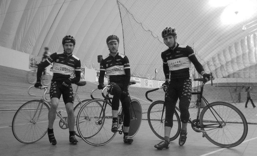 Super Champion racers at Burnaby Velodrome