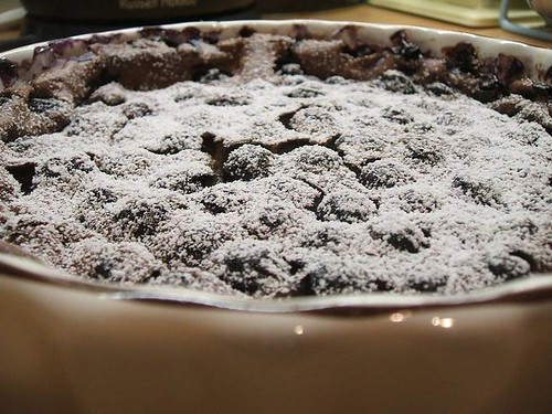 Chocolate and blueberry clafoutis