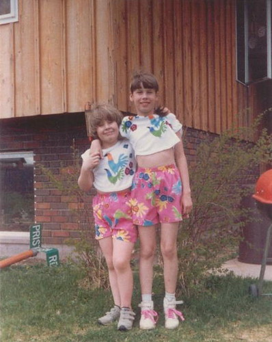 Lil' hobbity me and my tall cousin Katie, May 1987.