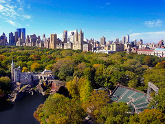 Belvedere Castle and the Delacorte Theater (scottdunn) Tags: nyc autumn kite newyork skyscraper photography theater centralpark manhattan aerial gothamist kap aerialphotography kiteaerialphotography turtlepond belvederecastle urbanskyline centralparkwest delacorte pgw travelleisure delacortetheater scottdunn platinumphoto fotografiaareacompipa photoparcerfvolant 10fave123 fesseldrachenluftbildfotografie