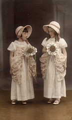 Tinted 1930s bridesmaids (lovedaylemon) Tags: pink vintage found image bridesmaid tinted bopeep 1930