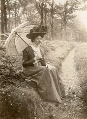 In the country with a parasol (lovedaylemon) Tags: woman lady vintage found image path parasol edwardian