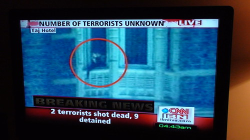 CNN IBN showing Terrorists footage at mumbai