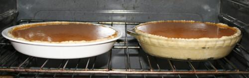 Pour into pie shells.