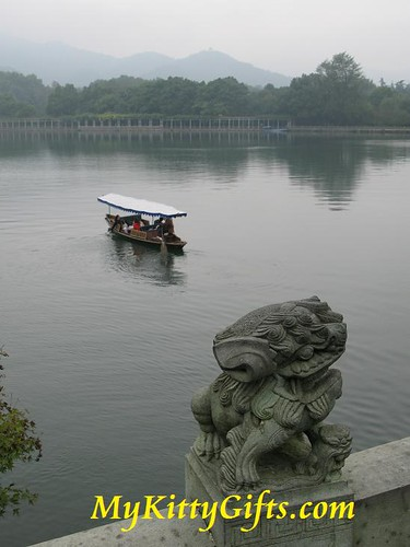 Hello Kitty's View of Stone Lion and Boat at a Bridge of West Lake, HangZhou