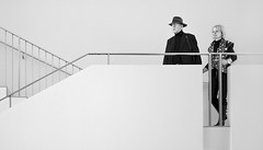 Which Way Darling? (Philipp Klinger Photography) Tags: people bw woman white man black art face up hat metal museum architecture stairs germany hair way deutschland 50mm nikon europa europe hessen frankfurt f14 sigma down railing philipp which hesse kunsthalle klinger schirn d700 sigma50mmf14 dcdead