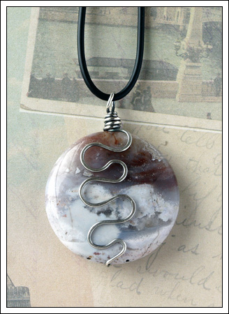 Oxidized fancy jasper coin pendant